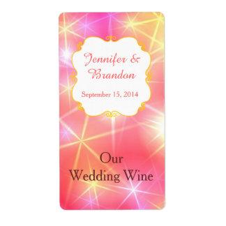 Colorful Sparkles Custom Wedding Mini Wine Label Shipping Label