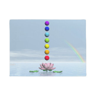 Colorful spheres for chakras upon beautiful lily f doormat