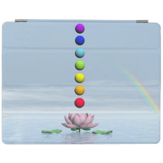 Colorful spheres for chakras upon beautiful lily f iPad cover