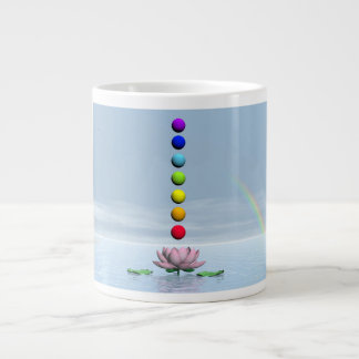 Colorful spheres for chakras upon beautiful lily f large coffee mug