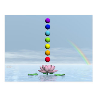 Colorful spheres for chakras upon beautiful lily f postcard