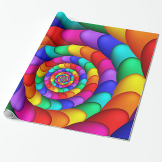 Colorful Spiraling Eggs Fractal Wrapping Paper