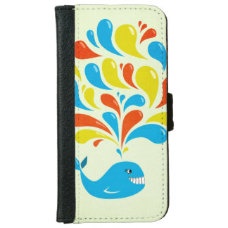 Colorful Splash Happy Cartoon Whale iPhone 6 Wallet Case