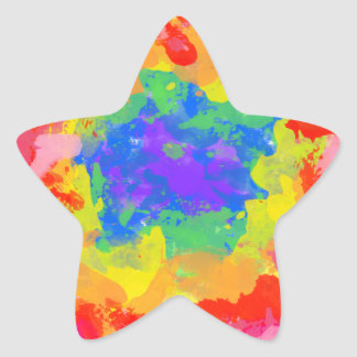 Colorful splash of tie dye watercolor star sticker