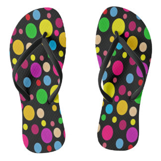 Colorful Spots On Black Flip Flops
