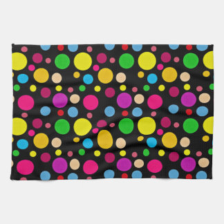 Colorful Spots On Black Kitchen Towel