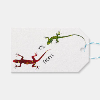 Colorful Spotted Gecko Lizards Gift Tag