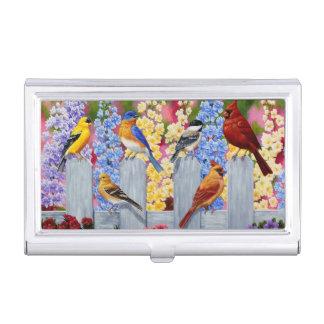 Colorful Spring Birds Garden Party Business Card Holder