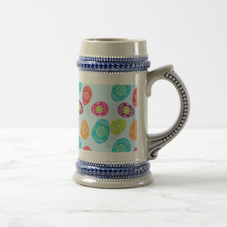 Colorful Spring Easter Eggs Pattern on Baby Blue Beer Stein