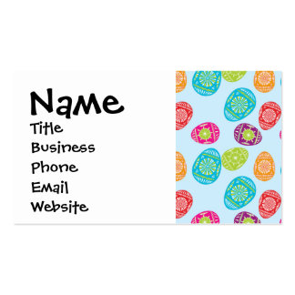 Colorful Spring Easter Eggs Pattern on Baby Blue Business Card Templates