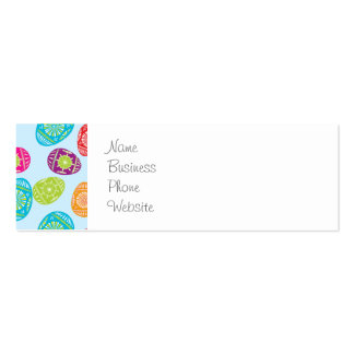 Colorful Spring Easter Eggs Pattern on Baby Blue Pack Of Skinny Business Cards