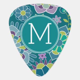 Colorful Spring Floral Pattern Custom Monogram Pick