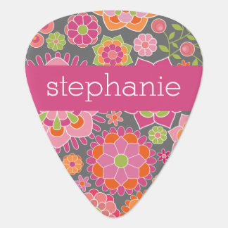 Colorful Spring Floral Pattern Custom Name Guitar Pick