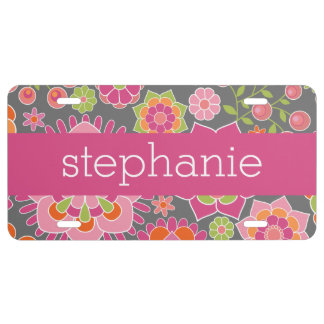 Colorful Spring Floral Pattern Custom Name License Plate