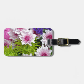 Colorful spring flowers bouquet luggage tag