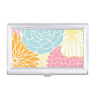 Colorful Spring Flowers Business Card Holder