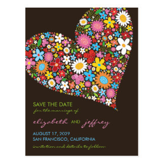 Colorful Spring Flowers Heart Love Save The Date Postcard