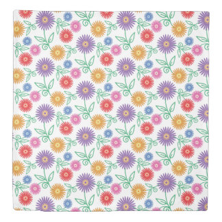 Colorful Spring Flowers | Modern Floral Pattern Duvet Cover