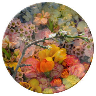 Colorful spring flowers print porcelain plate