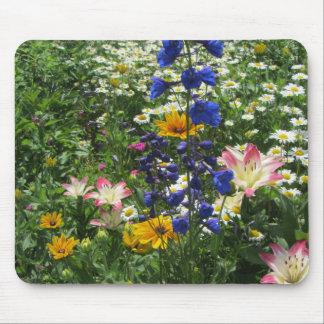 Colorful Spring Garden Larkspur Blue Mouse Pad