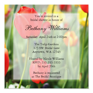 "Colorful Spring Tulips Bridal Shower 5.25"" Square Invitation Card"