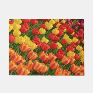 Colorful spring tulips doormat
