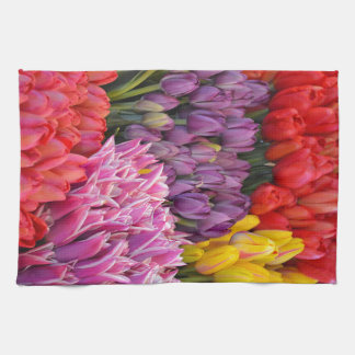 Colorful spring tulips kitchen towel