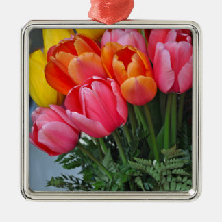 Colorful spring tulips Silver-Colored square ornament