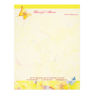 Colorful Spring Watercolor Butterfly Business Customized Letterhead