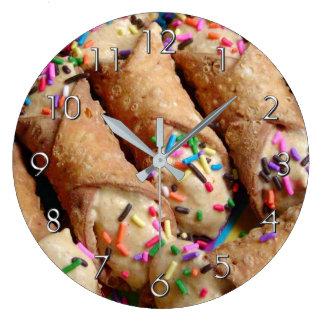 Colorful Sprinkles on Italian Cannoli Large Clock