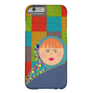 Colorful Squares Beautiful Red Hair Woman Barely There iPhone 6 Case