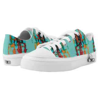 Colorful Squares - Blue Geometric Modern Sneakers