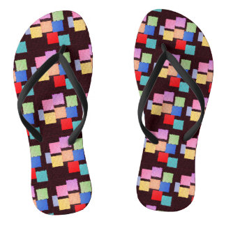 Colorful Squares Flip Flops