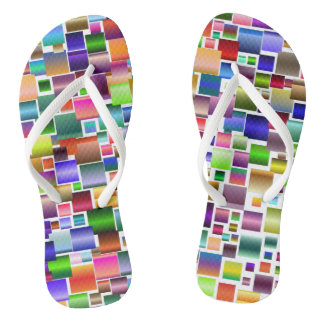 colorful squares flip flops