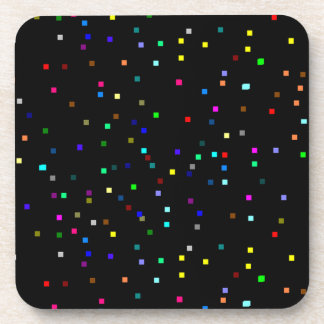 Colorful Squares Pattern on Black Background Drink Coaster