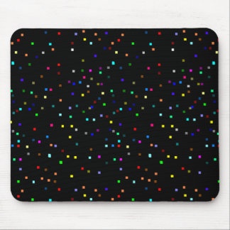 Colorful Squares Pattern on Black Background Mouse Pad