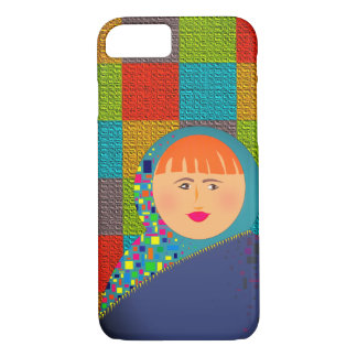 Colorful Squares Vibrant Cartoon Girl Portrait iPhone 8/7 Case