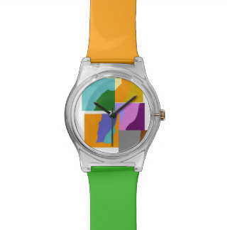 Colorful Squares Wrist Watches