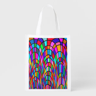 Colorful Stained Glass Art Reusable Grocery Bag