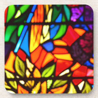 Colorful Stained Glass Design Drink Coasters