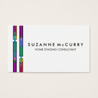 Colorful Stained Glass Design Home Staging Business Card