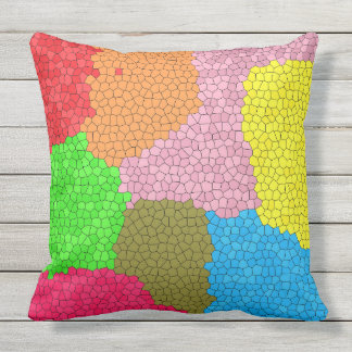 Colorful Stained Glass Mosaic Design Large Outdoor Pillow