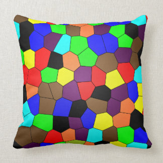Colorful Stained Glass Mosaic Tiles Throw Pillow