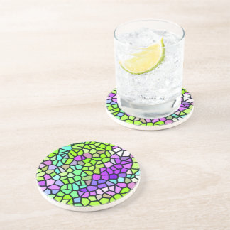 Colorful stained glass pattern beverage coaster