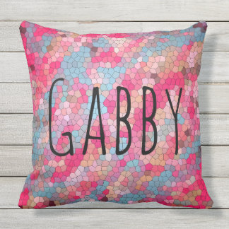 Colorful Stained Glass Pattern Personalized Throw Pillow