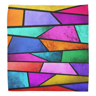 Colorful Stained Glass Purple Blue Teal Bandana