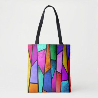 Colorful Stained Glass Purple Blue Teal Pink Tote