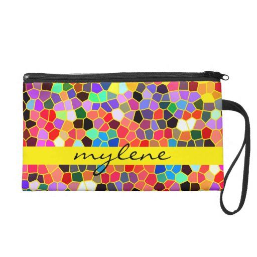 Colorful Stained Glass Rainbow Abstract Mosaic Wristlet Clutches