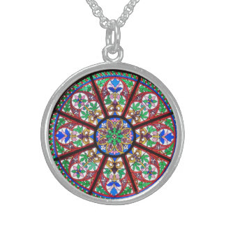 Colorful Stained Glass Window Silver Necklace