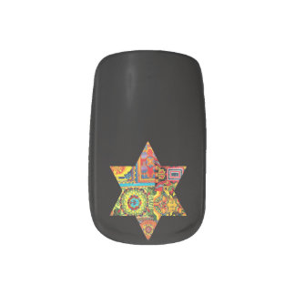 Colorful Star Of David nail wraps